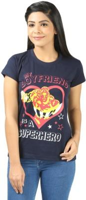 Shopdayz Printed Women's Round Neck Dark Blue T-Shirt