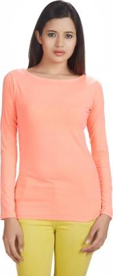 Defossile Solid Women's Round Neck Orange T-Shirt
