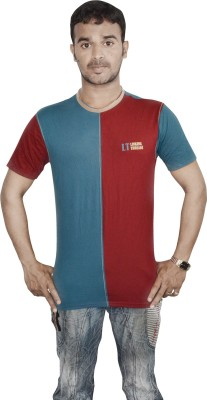 Linking Threads Self Design Men's Round Neck Multicolor T-Shirt