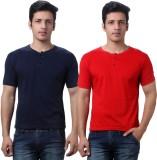 TeeMoods Solid Men's Henley Red, Dark Bl...