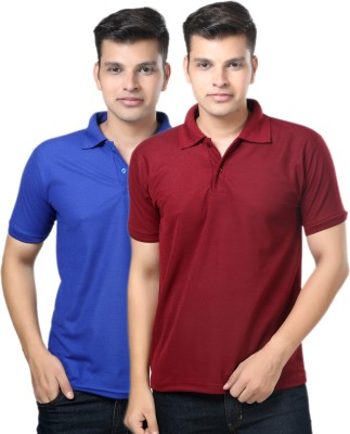 eSOUL Solid Men's Polo Neck Blue, Maroon T-Shirt