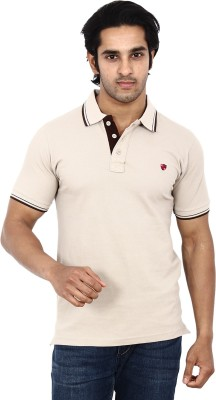 STACKIA Solid Men's Polo Neck Beige T-Shirt