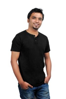 Brand Teez Solid Men's Black T-Shirt