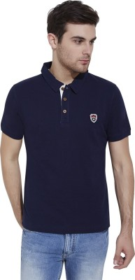 Slub By INMARK Solid Men's Polo Neck Dark Blue T-Shirt