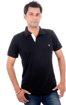 Wells Smith Solid Men,s Polo Black T-Shirt