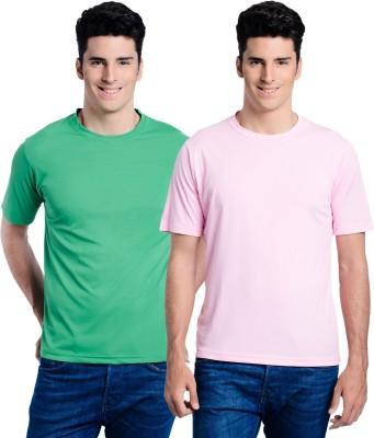 Superjoy Solid Men's Round Neck Green, Pink T-Shirt