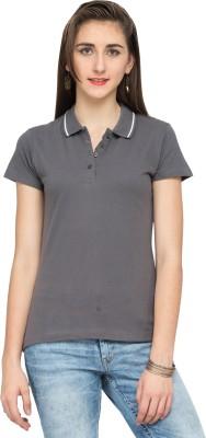 Alibi Solid Women's Polo Grey T-Shirt