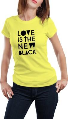 Girlful Printed Women's Round Neck Yellow T-Shirt