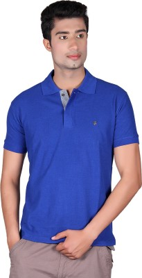 Cute Collection Solid Men's Polo Neck Blue T-Shirt