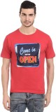 Orange Plum Printed Men's Round Neck Red...
