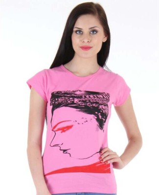 ASHROG Printed Women's Round Neck Pink T-Shirt