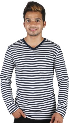 Tree Striped Men,s V-neck T-Shirt