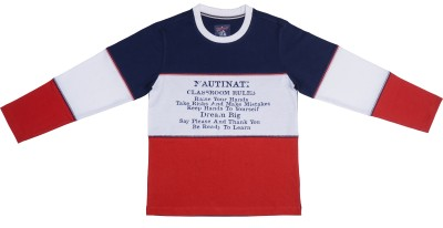 Nauti Nati Printed Boy's Round Neck Multicolor T-Shirt