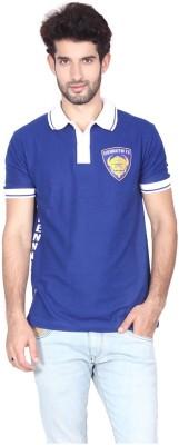Gol Chennaiyin Fc Printed Men's Polo Neck Blue, White T-Shirt