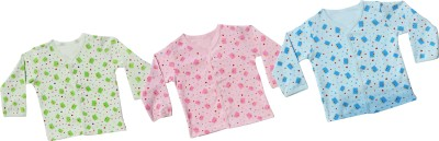 Infano Printed Baby Girl's V-neck Multicolor T-Shirt