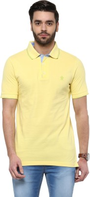 Turtle Solid Men's Polo Neck Yellow T-Shirt
