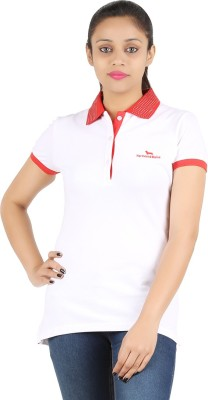 Astrix Embellished, Solid Women's Polo Neck White, Red T-Shirt