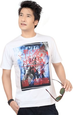 Zootx Printed Men's Round Neck White T-Shirt