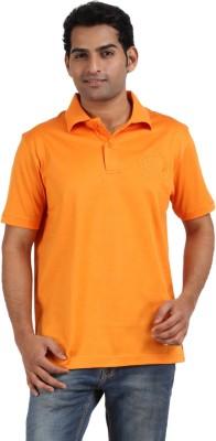 CH Solid Men's Polo Neck Orange T-Shirt