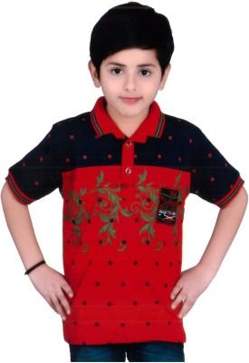 KABEER Embellished Baby Boy's V-neck Red, Black T-Shirt