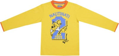 Nauti Nati Printed Boy's Round Neck Yellow T-Shirt