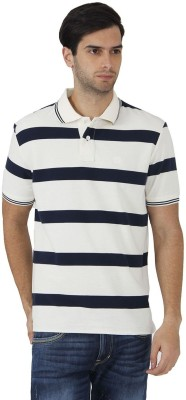 Fahrenheit Striped Men's Polo Neck White, Dark Blue T-Shirt