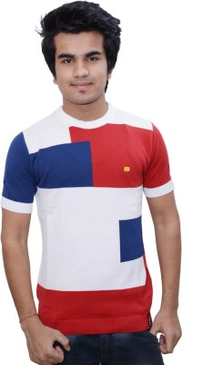 Being Dessi Solid Men's Round Neck Multicolor T-Shirt
