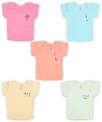 Jo Kidswear Solid Baby Boy's Round Neck Pink, Blue, Orange, Yellow, Green T-Shirt