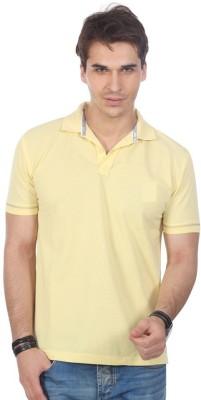 ORKO Solid Men's Flap Collar Neck Yellow T-Shirt
