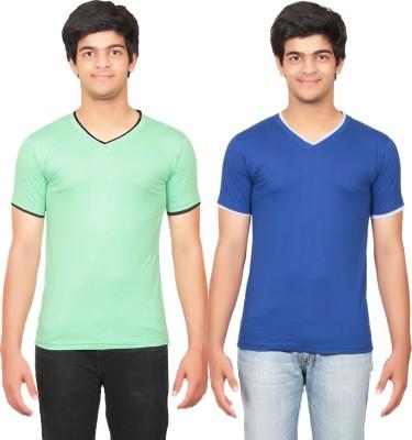 Graceful Self Design Men's V-neck Green, Blue T-Shirt