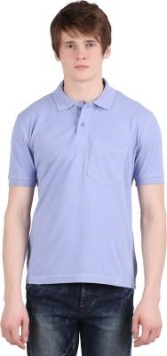 Moonwalker Solid Men's Polo Neck Purple T-Shirt