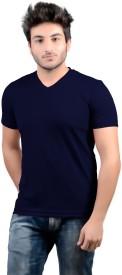 DS WORLD Solid Men's V-neck Dark Blue T-Shirt