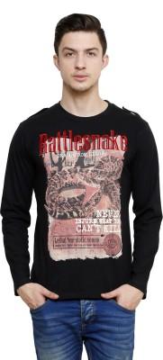 Era of Attitude Printed Men's Round Neck Black T-Shirt