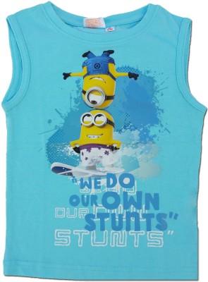 Kuddle Kid Printed Boy's Round Neck Light Blue T-Shirt