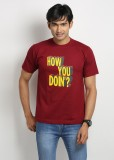 Weardo Printed Men's Round Neck Maroon T...