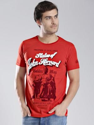 Harvard Printed Men's Round Neck Orange T-Shirt