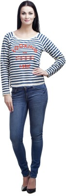 MansiCollections Striped Women's Round Neck White, Blue T-Shirt