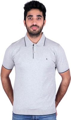 Kalt Solid Men's Polo Grey T-Shirt