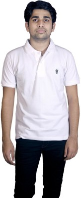 Friends United Solid Men's Polo Neck White T-Shirt