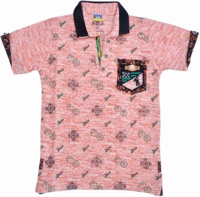HEY BABY Self Design Boy's Polo Neck Multicolor T-Shirt
