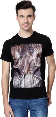 Van Heusen Printed Men's Round Neck Black T-Shirt