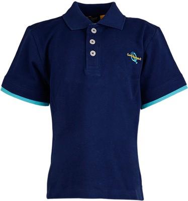 Cool Quotient Solid Boy's Polo Neck Blue T-Shirt
