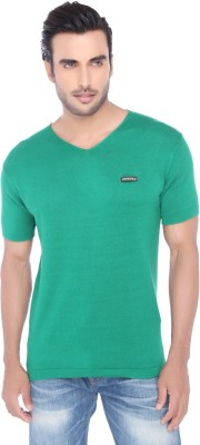 Springfield Solid Men's V-neck Green T-Shirt
