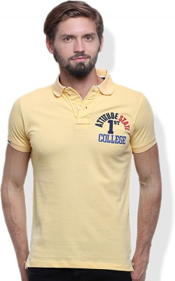 GOINDIASTORE Solid Men's Polo Neck Yellow T-Shirt