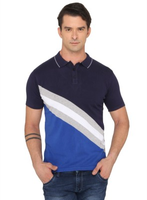 Donear NXG Solid Men's Polo Neck Blue T-Shirt