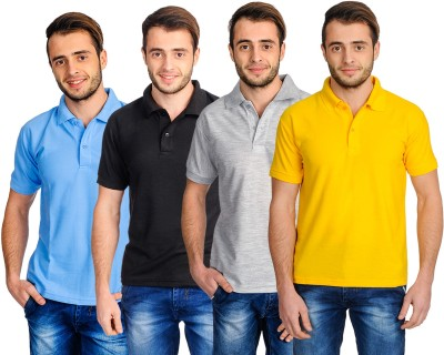 Superjoy Solid Men's Polo Neck Grey, Black, Yellow, Light Blue T-Shirt