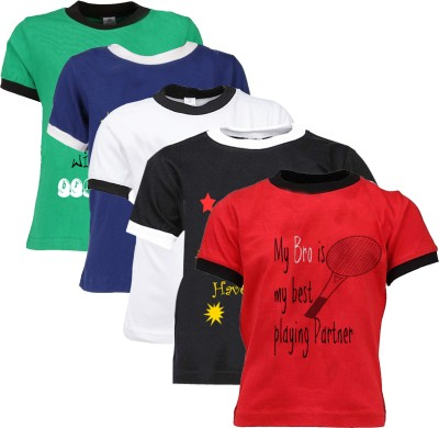 Gkidz Printed Boy's Round Neck Multicolor T-Shirt
