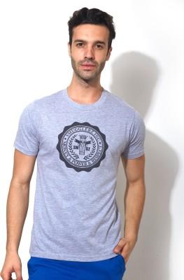 Smugglerz Graphic Print Men's Round Neck Grey T-Shirt