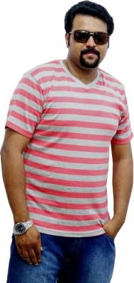 East West Striped Men's V-neck Pink, Grey T-Shirt