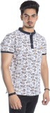 Qubic Paisley Men's Polo Neck White, Yel...